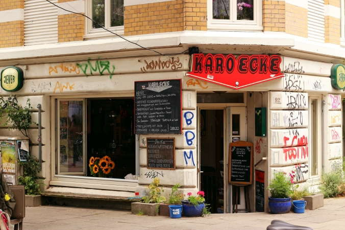 The facade of Karo Ecke on the Markstraße in Hamburg.