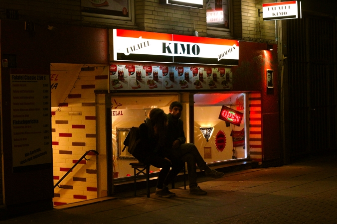 Falafel Kimo at night, Hamburg