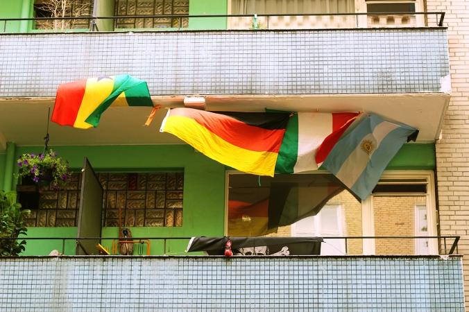 Argentinian, Italian and German flags in St. Pauli Hamburg