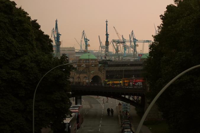 Cranes on the Harbour at Landungsbrücken, Hamburg.