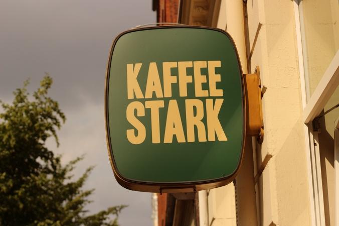 Kaffee Stark, sign outside, great vegan and vegetarian cafe.