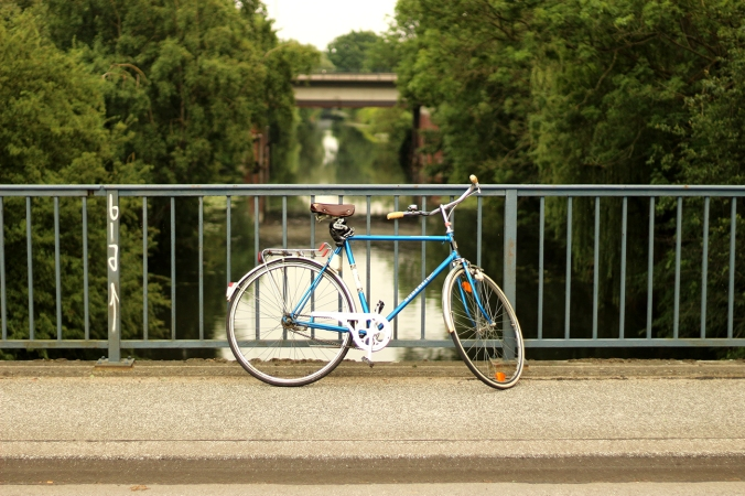 A bicycle alone on a bridge in Wilhelmsburg in Hamburg