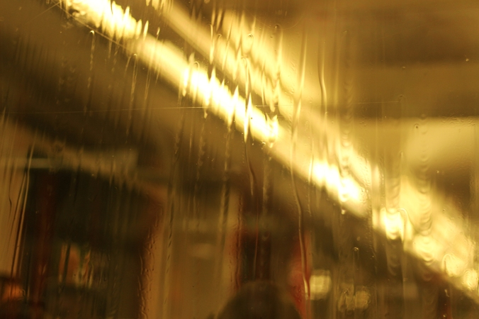 A picture taken inside the S-bahn in Hamburg of rain running down the window.