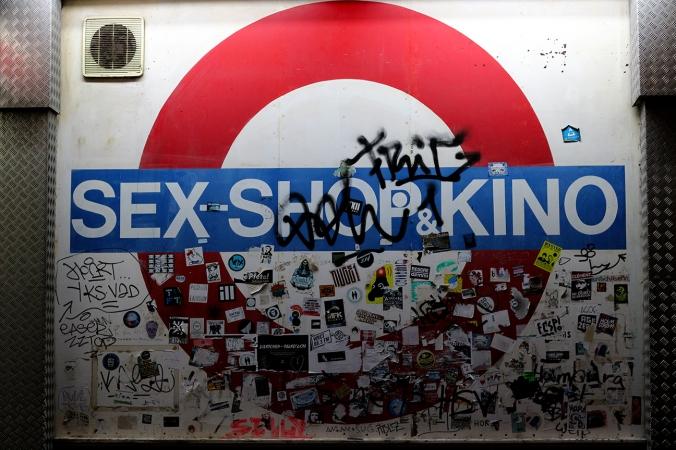 A sign for a sex shop on the Reeperbahn, St. Pauli