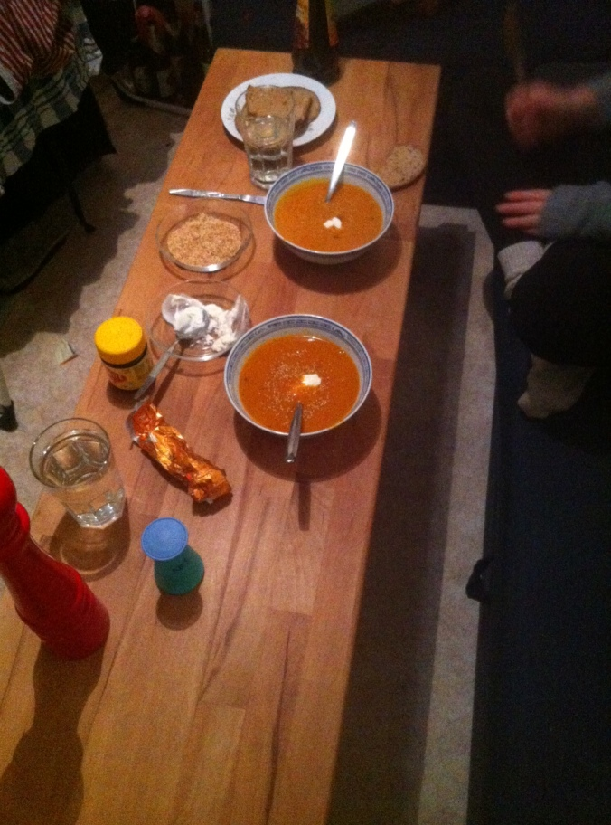 Dinner, Pumpkin Soup, vegan sour cream