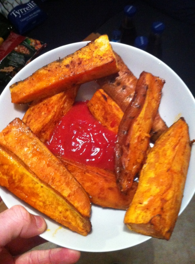 Anytime. Sweet potato wedges and sauce. Roast with paprika and oil.