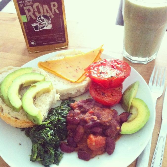 Coffee, Australian vegan breakfast (vegan cheese)
